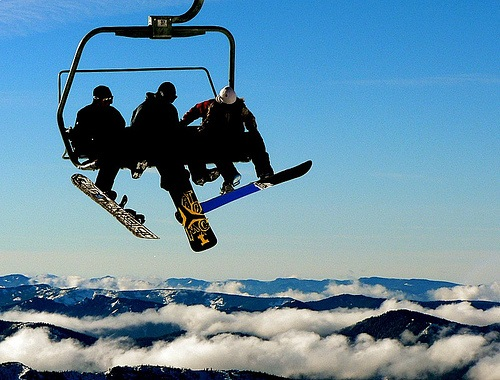 Snowboarders about to jump from a ski lift